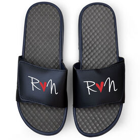 Running Navy Slide Sandals - Run Heart