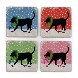 Running Stone Coaster Set of 4 - Rex The Running Dog With Christmas Wreath