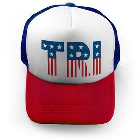 Triathlon Trucker Hat Tri Patriotic
