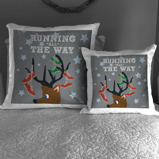 Running Throw Pillow Runner Reindeer
