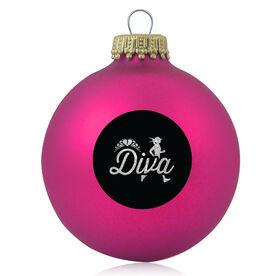 Glass Ornament Running Diva Glitter