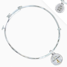 Livia Collection Sterling Silver and Gold Vermeil She Believed Token Adjustable Bangle