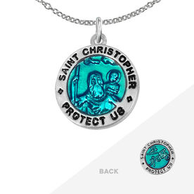 Triathlete St. Christopher Necklace - Blue (1.5cm)