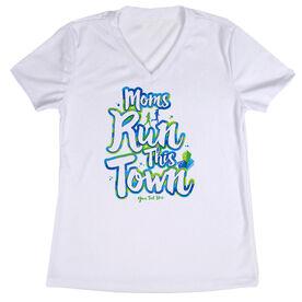 Women's Running Short Sleeve Tech Tee - Moms Run This Town Script