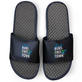 Running Navy Slide Sandals - She Runs This Town Stacked