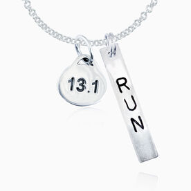 Sterling Hand Stamped Block Font Run Rec. Pendant and Sterling Silver 13.1 Oval Charm Necklace