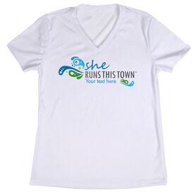 Women's Running Short Sleeve Tech Tee - She Runs This Town Logo