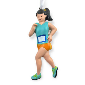 Runner Resin Figure Ornament - Brunette Girl (Neon)