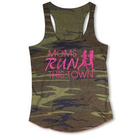 Running Camouflage Racerback Tank Top - Moms Run This Town Logo (Pink)