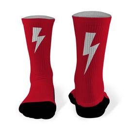 Running Printed Mid Calf Socks Lightning Bolt