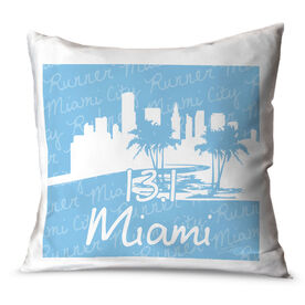 Running Throw Pillow Miami Skyline