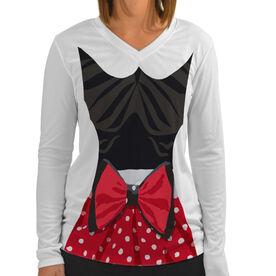 Women's Customized White Long Sleeve Tech Tee Polka Dot