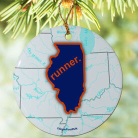 Illinois State Runner (Royal/Orange) Porcelain Ornament