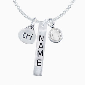 Sterling Hand Stamped Rectangular Pendant, Sterling Silver Tri Oval Charm and Birthstone Necklace