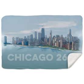 Running Sherpa Fleece Blanket - Chicago Sketch