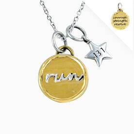 Livia Collection Brass and Sterling Silver Run Token 13.1 Necklace
