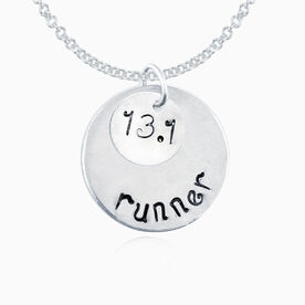 Sterling Silver Hand Stamped Curly Font 13.1 Runner Curly Font Double Layered Charm Necklace