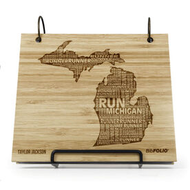 Engraved Bamboo Wood BibFOLIO Michigan State Runner