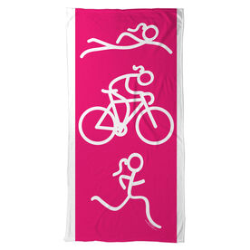 Triathlon Beach Towel Swim Bike Run Girl Figure
