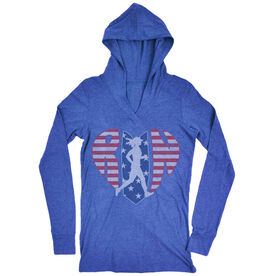 Women's Running Lightweight Performance Hoodie - Patriotic Heart