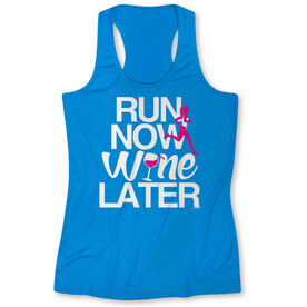Women's Performance Singlet Run Now Wine Later (Bold) (Blue)
