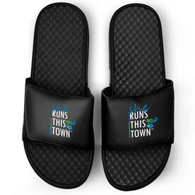 Running Black Slide Sandals - She Runs This Town Stacked
