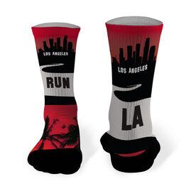 Running Printed Mid Calf Socks Los Angeles Skyline