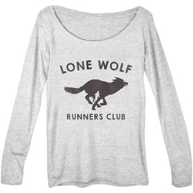 Women's Runner Scoop Neck Long Sleeve Tee Run Club Lone Wolf (White)