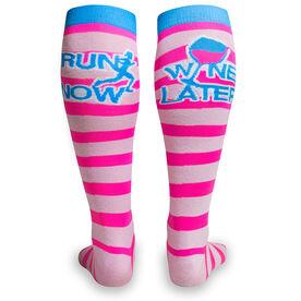 Woven Yakety Yak! Knee High Socks - Run Now Wine Later (Pink Stripes/Teal)