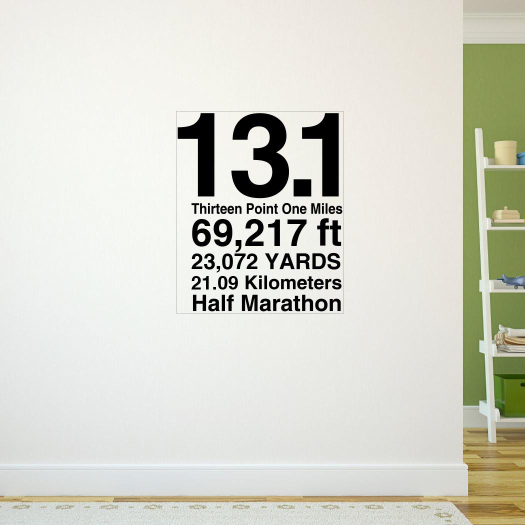 13 1 math miles goneforarungraphix wall decal half marathon 13 1 math miles goneforarungraphix wall decal