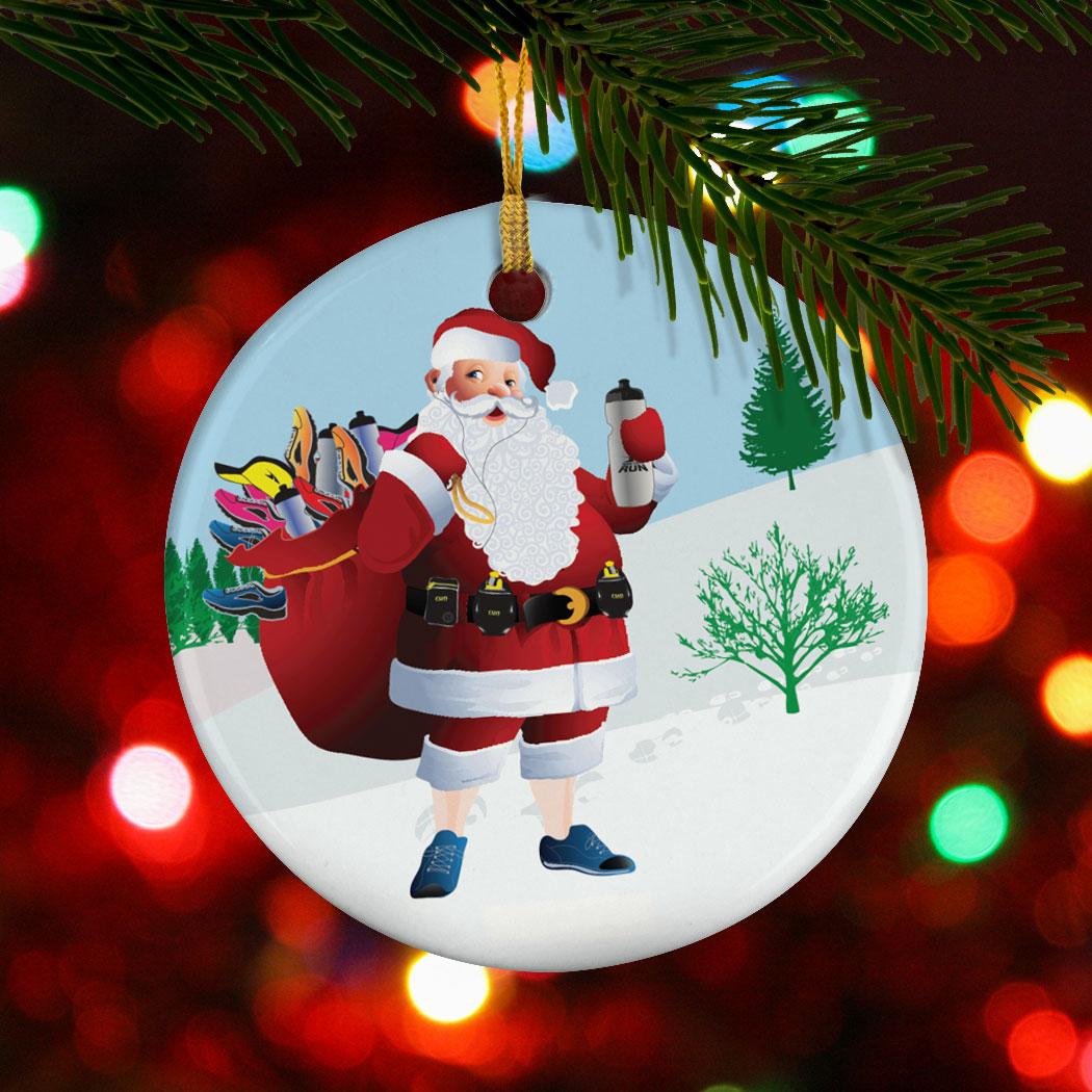 running porcelain ornament santa