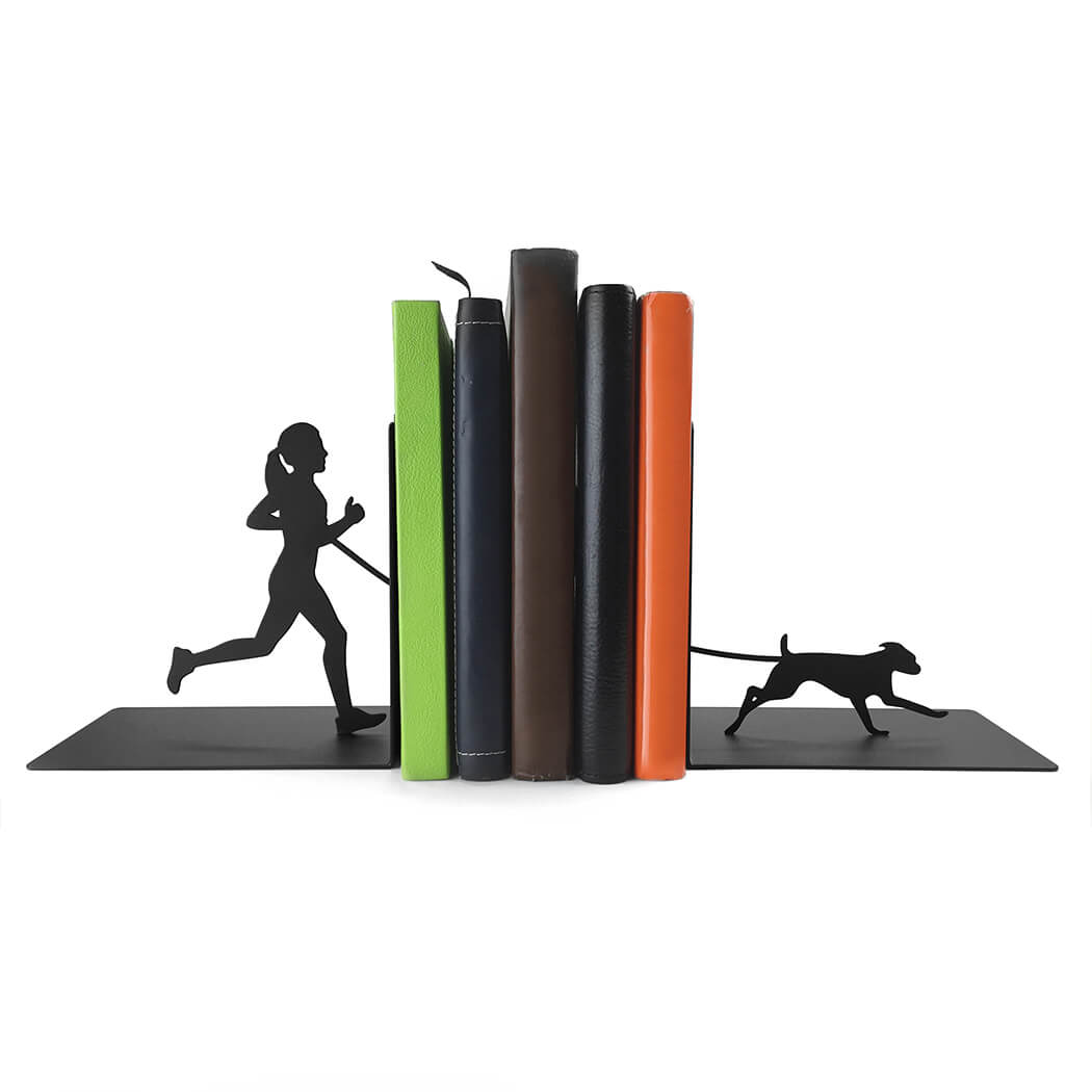 Running Bookends Runner Girl With Dog Gone For A Run