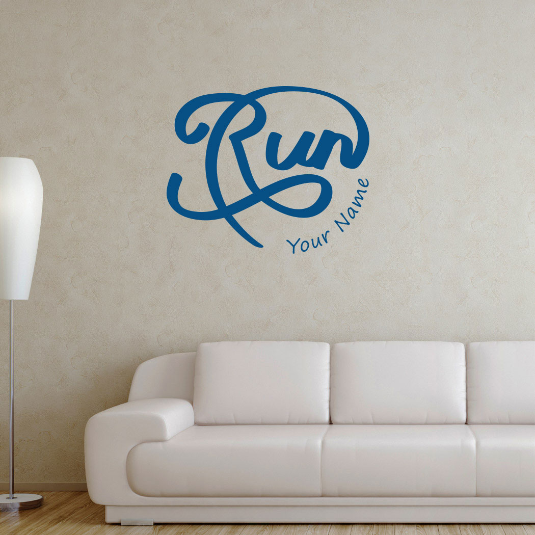 Personalized Run Script Removable Wall Decal Running