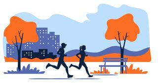Virtual Race Running Illustration