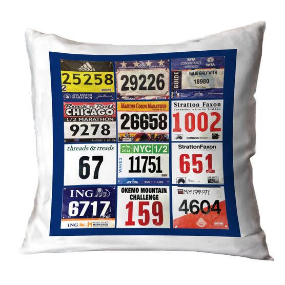Running Throw Pillow - Custom Race Bib