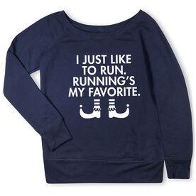 Running Fleece Wide Neck Sweatshirt - Running's My Favorite (Simple)