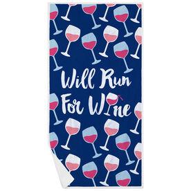Running Premium Beach Towel - Will Run For Wine