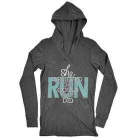 Women's Running Lightweight Performance Hoodie She Believed She Could So She Did 13.1
