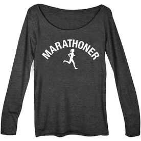 Women's Runner Scoop Neck Long Sleeve Tee - Marathoner Girl