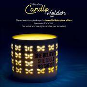 Soleil Home™ Porcelain Candle Holder - She Believed She Could