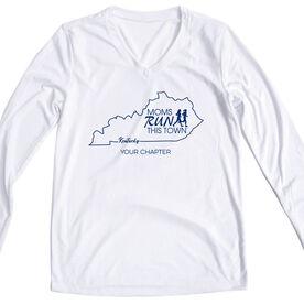 Women's Running Long Sleeve Tech Tee - Moms Run This Town Kentucky Runner