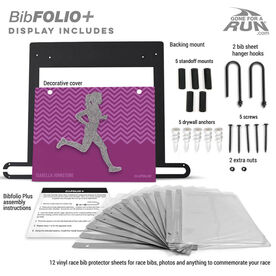 BibFOLIO+™ Race Bib and Medal Display - Runner Girl Faux Glitter Chevron