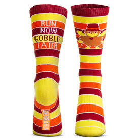 Running Woven Mid-Calf Socks - Run Now Gobble Later (Yellow/Orange/Brown)