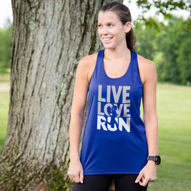 Women's Racerback Performance Tank Top - Live Love Run Silhouette