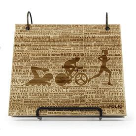 Engraved Bamboo Wood BibFOLIO® Race Bib Album - Swim Bike Run Inspiration Female