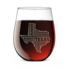 Stemless Wine Glass Texas State Runner