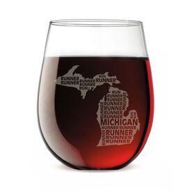 Stemless Wine Glass Michigan State Runner