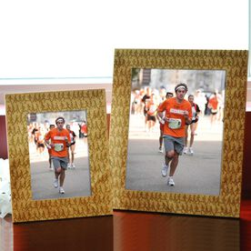 Bamboo Engraved Picture Frame Marathon Runners Male Silhouette