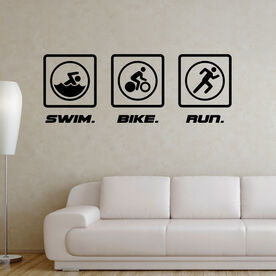 Swim Bike Run Blocks Removable TRIForeverGraphix Wall Decal