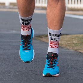 Running Printed Mid-Calf Socks - Running is Not Canceled 2020